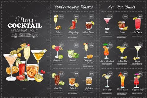 cocktail drinks menu drawing horisontal cocktail menu illustrations