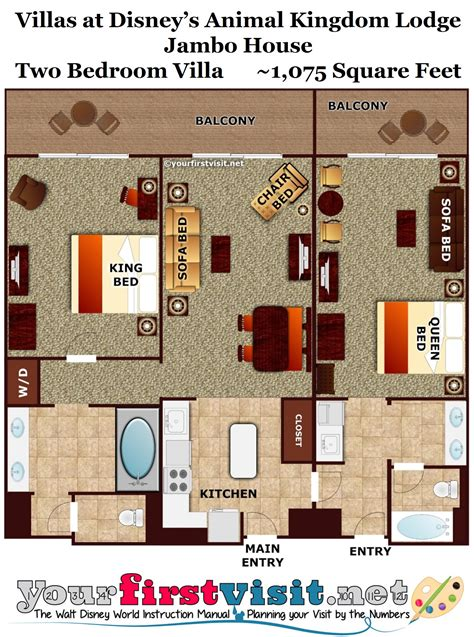 Disney Club 2 Bedroom Villa Floor Plan - photo tour one bedroom villa bath master bedroom space