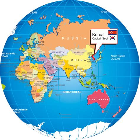 where is south korea on the map south korea on world map images
