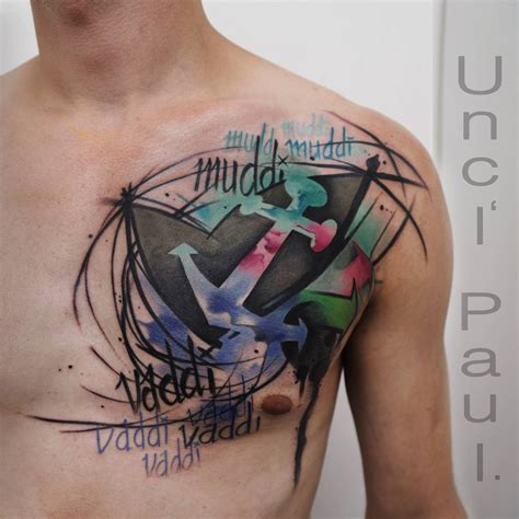 watercolor tattoo lettering watercolor abstract on chest