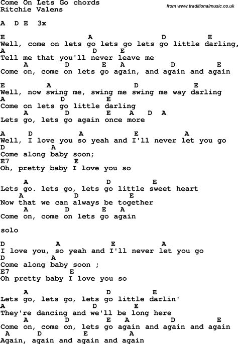 song in song lyrics with guitar chords for come on lets go