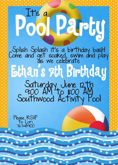 pool party invitations personalized invitations girl