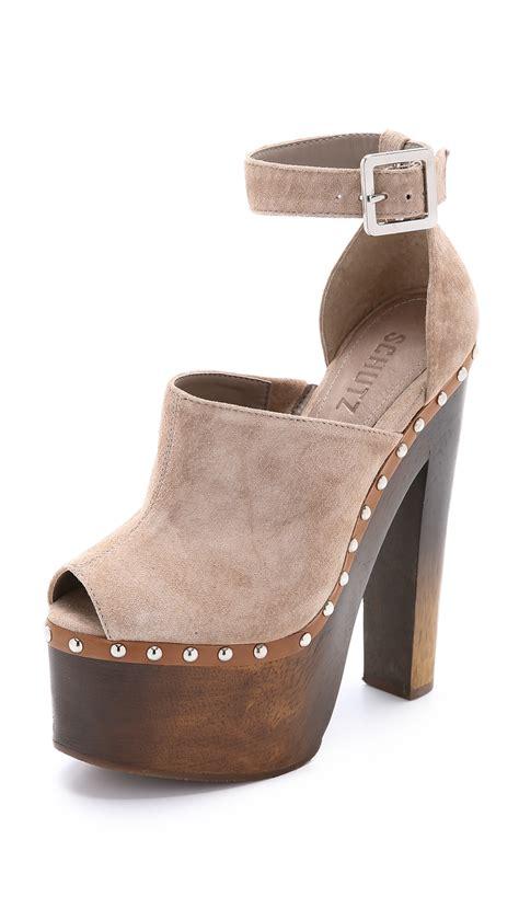 clog sandal lyst schutz tyrone platform clog sandals neutral in