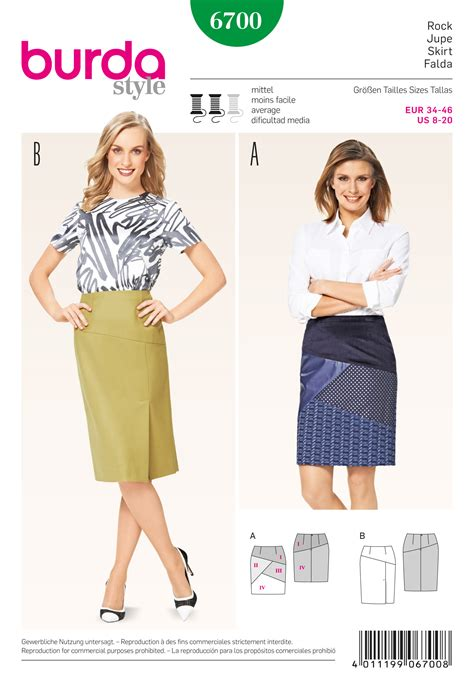 skirt pattern burda burda 6700 misses skirt sewing pattern