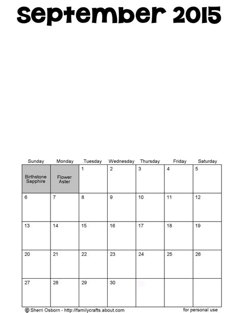 Blank Calendar For September 2015 Printable September 2015 Calendars Favorites