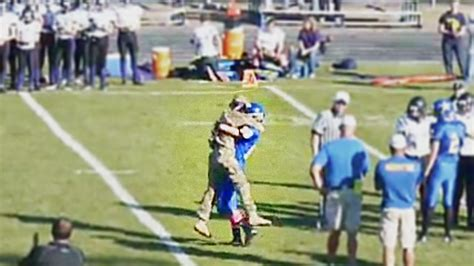 u s soldier surprises during high school football