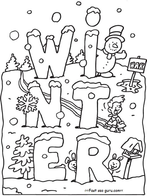 free printable winter coloring pages for snow sled kids