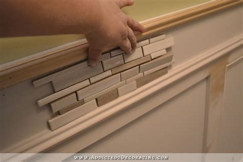 Beadboard Kitchen Cabinets recessed panel wainscoting with tile accent part 1
