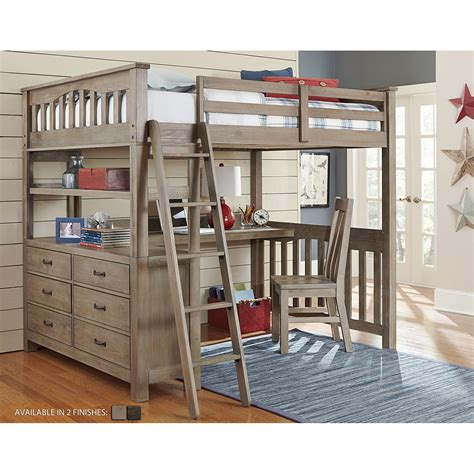 Ne Kids Highlands Full Loft Bed With Desk Bedroom Youth Bunk Beds With Desks