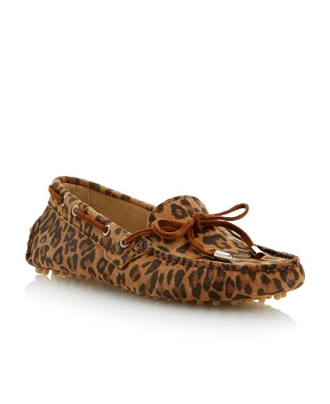 dune leopard loafers dune suede toe flat mocassin shoes in animal