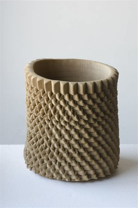 decorating pottery sculpturally textured decor pressed ceramic vases