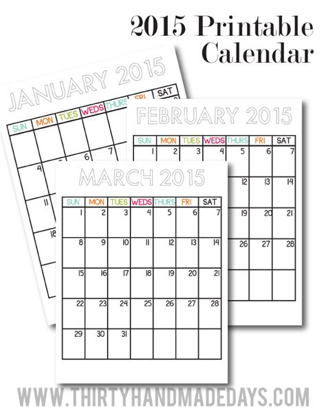 printable calendar vertical 2015 free printable calendars for 2015 paper crush