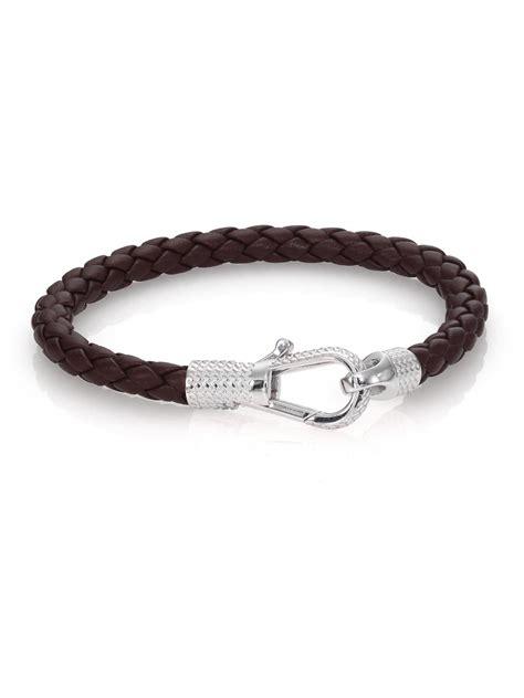leather sterling silver bracelet tateossian leather sterling silver braided bracelet in
