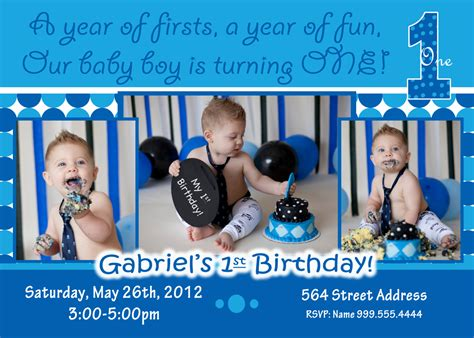 Baby Boy 1st Birthday Invitation Card Template by Baby Boy 1st Birthday Invitations Free Printable Baby