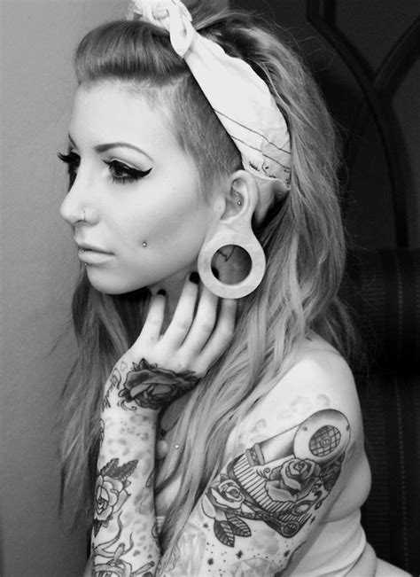 emo girl tattoo wallpaper scene and emo girls images girl with plugs tattoos and