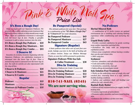 Pedicure Menu Laminated 8 5 215 11 Nails Printing 866 600 1823 Pedicure Menu Template