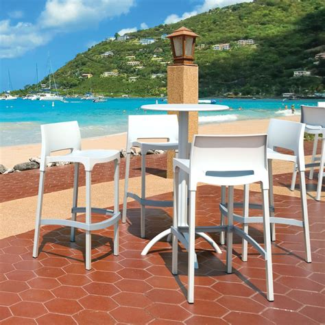 Outdoor Bar Stools White by Compamia Gio Resin Outdoor Barstool White Isp035 Whi
