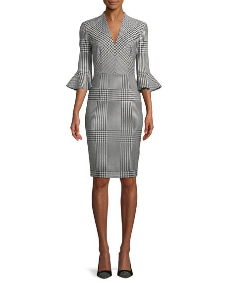 V Neck Bell Sleeve Sheath Dress escada v neck bell sleeve houndstooth sheath dress