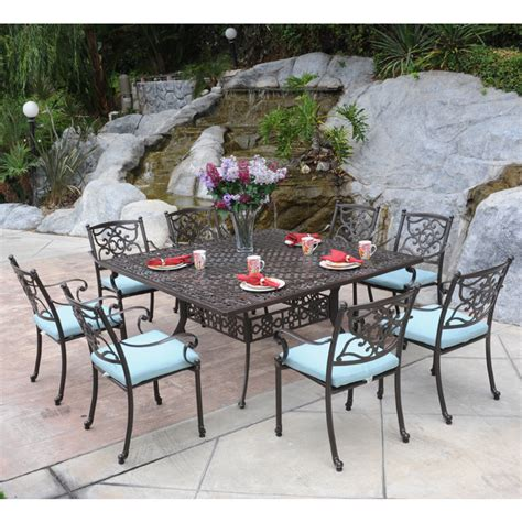 9 patio dining set meadow decor kingston 9 square patio dining set 65
