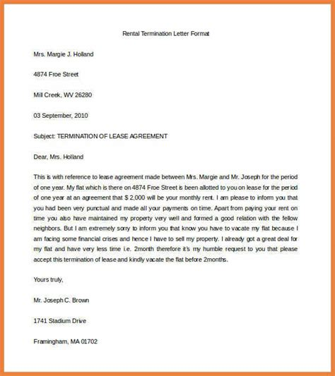 Retail Lease Notice Of Termination Lease Termination Letter Sop