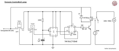 remote light switch circuit diagram remote light circuit diagram using 555 timer