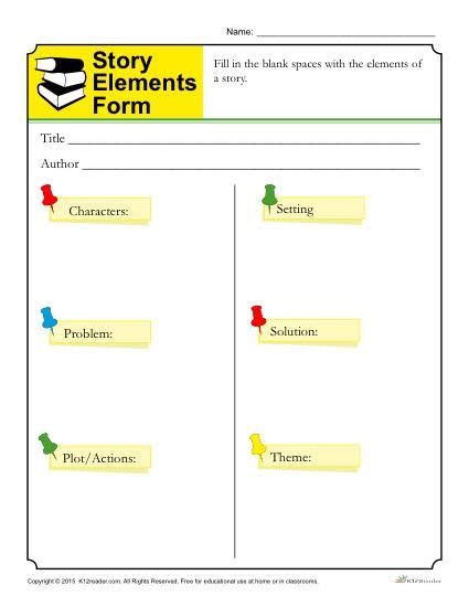 printable quiz on story elements story elements form template for students