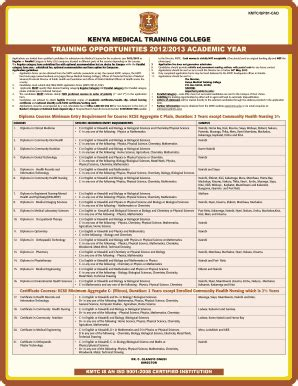 Application Letter Kmtc Kmtc Fee Structure Pdf Fill Printable Fillable Blank Pdffiller