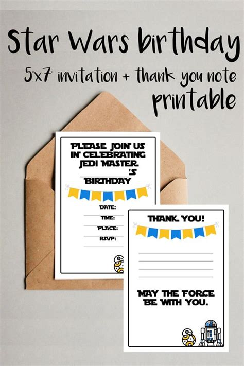 printable card wars star wars birthday party invitation thank you note