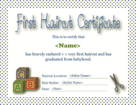 download first haircut certificate for free tidyform
