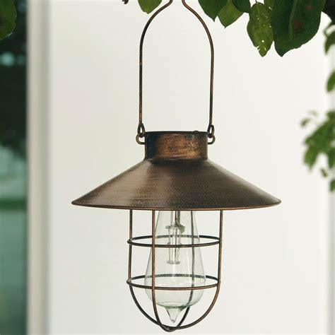 hanging solar garden lights solar powered hanging lantern copper finish