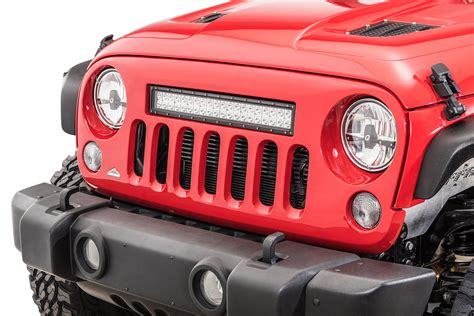 jeep jk grill light bar cliffride 19004 holcolm grill with led light bar for 07 18