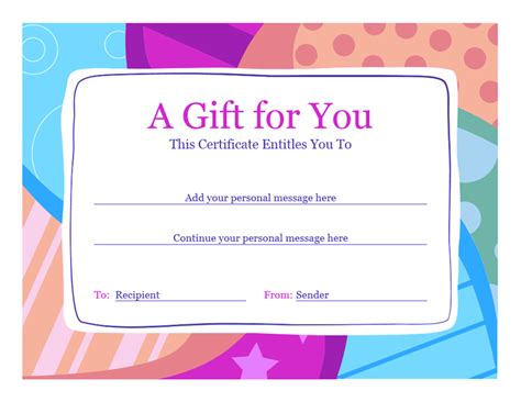 Word 2010 Birthday Card Template by Birthday Gift Certificate Template Word 2010 Free