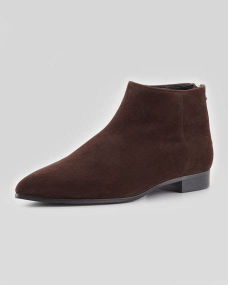 miu miu suede point toe flat ankle boot brown