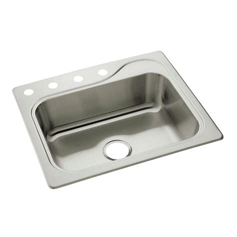 stainless steel single bowl kitchen sink sterling southhaven self rimming stainless steel 25 in 4