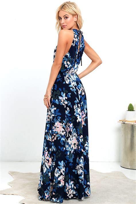 Dress Wanita Murah Sweet Maxi Dress lovely navy blue dress print dress maxi dress 106 00