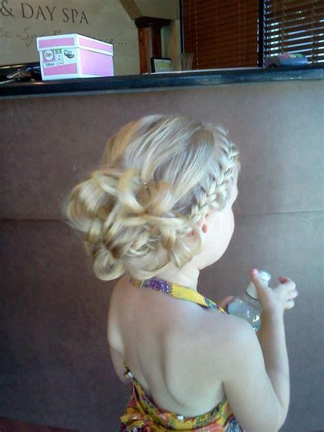 communion french braid bun flower girl or bridesmaid hair side french braid back