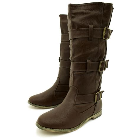 womens brown flat leather style buckled wide calf biker