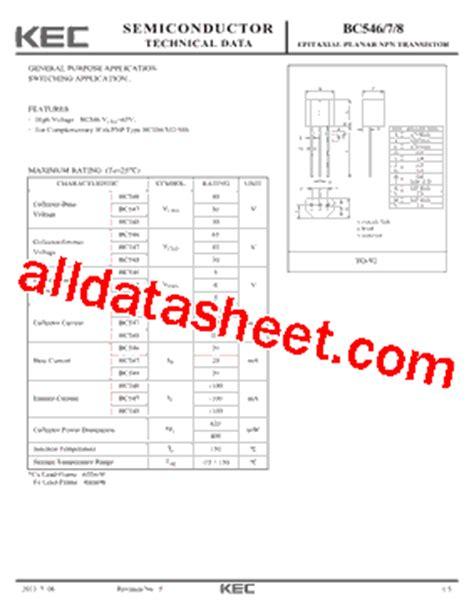 transistor bc547 pdf bc547 datasheet pdf kec korea electronics