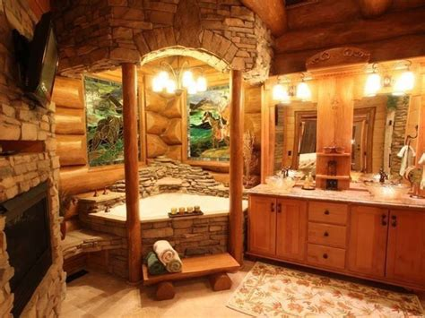 Log Home Bathrooms | log cabin bathroom dream home pinterest