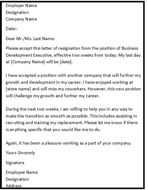 Resignation Letter Sle Due To Reasons Resignation Letter Format With Reason Describing The Reason Of Resignation As Quot Reason For