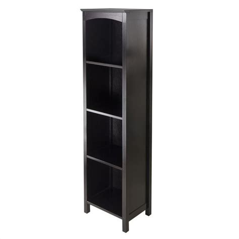 winsome terrace storage shelf 5 tier espresso bookcase