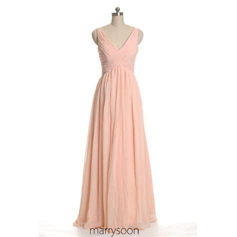 Bridesmaid Dress Material Options - colored v neck chiffon bridesmaid dresses pink