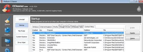 ccleaner context menu how to remove quot move to dropbox quot from context menu in