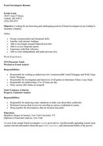 Financial Fraud Investigator Sle Resume by Financial Fraud Investigator Cover Letter