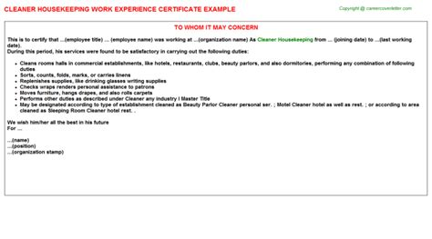 Letter For Work Experience In Hospital Housekeeping Work Experience Certificates Sles