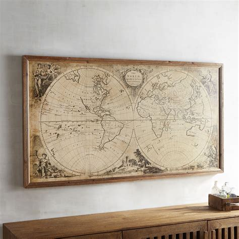 Decorative Wall Maps by Vintage Style World Map Framed Wall Decor Pier 1 Imports