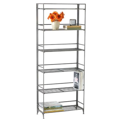 6 shelf iron folding bookshelf the container store