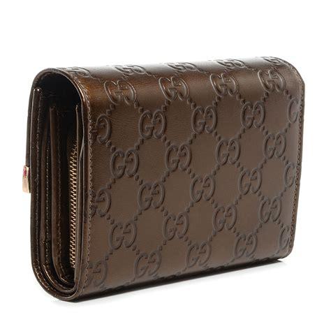 Gucci Wallet Bronze gucci guccissima compact trademark wallet bronze 76344