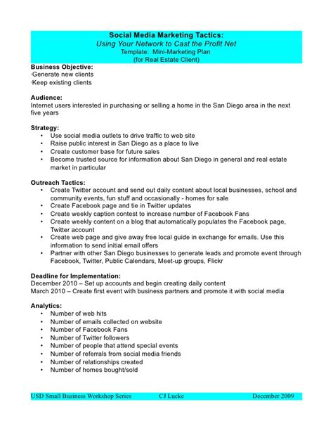 social media marketing plan template free business plan template sle printable