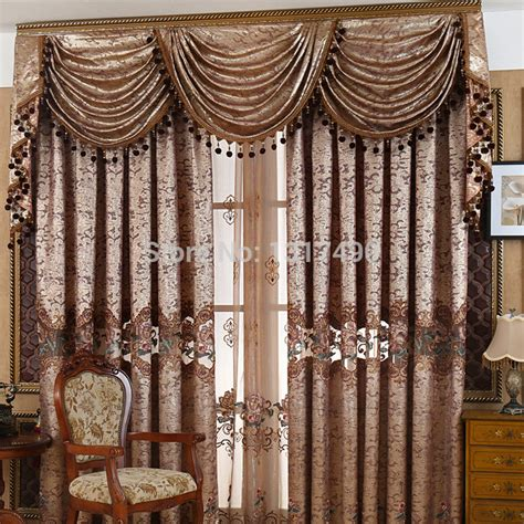 drapes with valance new high quantity europe gold jacquard curtain fabric
